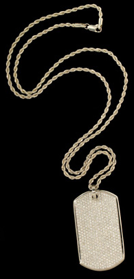 NuO 14K Gold Dog Tag with Diamonds
