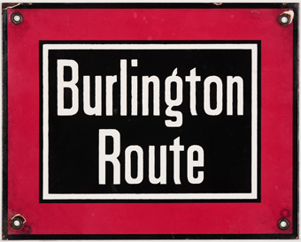 Burlington Route Enameled Metal Sign