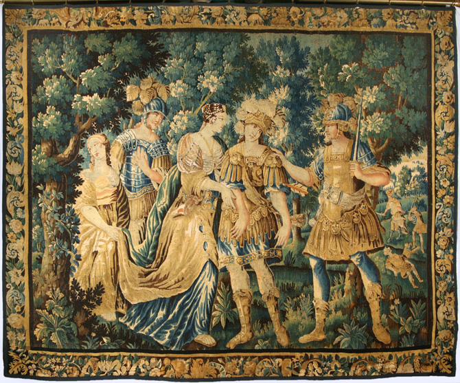 17th century brussels wool and silk mythological tapestry