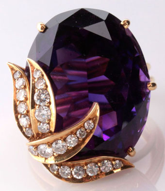 18k brazilian amethyst diamond cocktail ring