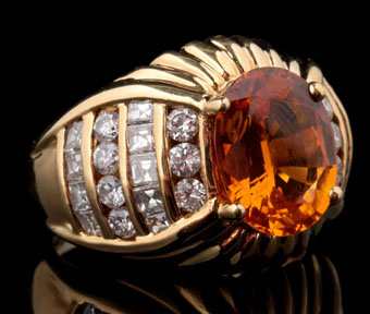 18k fashion rin 4.47 carat orange sapphire