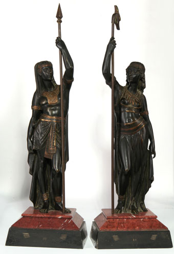 19th century bronze egyptian priest and priestess - after picault