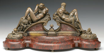 19th century bronze rouge marble double inkwell