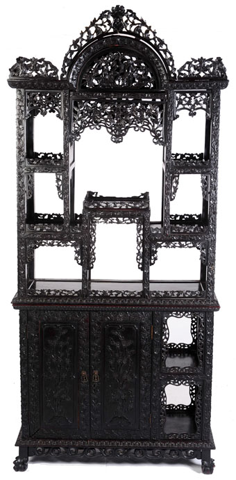 19th century chinese carved rosewood display cabinet