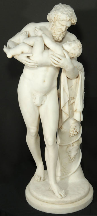 Rare 19th Century Marble Sculpture of Silenus and Dionysus