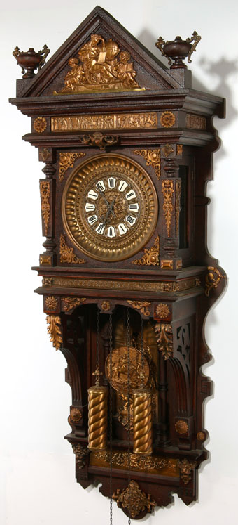 Ansonia Handing Antique Model Oak Case Wall Clock