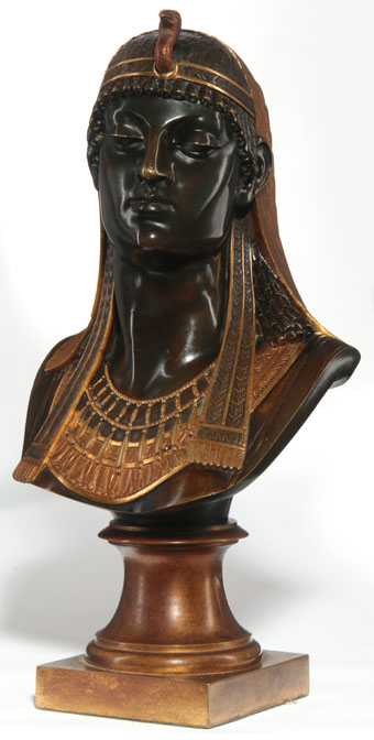 egyptian revival bronze bust of an egyptian goddess