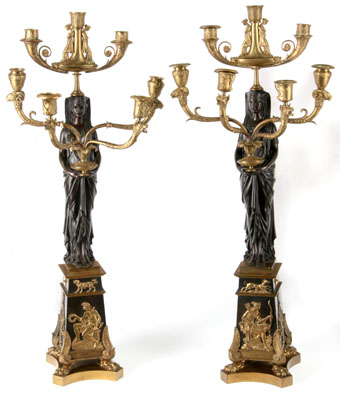 egyptian revival gilt and patinated bronze candelabra