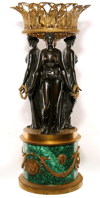 empire style figural bronze malachite centerpiece