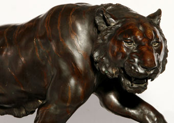 exceptional meiji period japanese bronze tiger