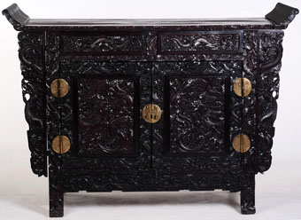 large heavily carved chinese zitan altar coffer
