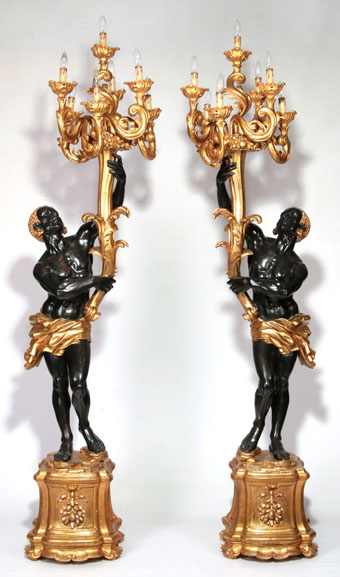 late 20th century parcel gilt venetian blackamoors
