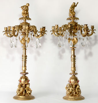 monumental 19th century french candelabra with gemstones
