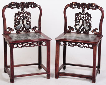 pair of chinese carved hardwood chairs with marble