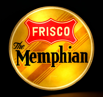 Frisco Memphian Drumhead Train Tail Sign