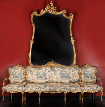 An Out-Sized Louis XV StyleGiltwood Canape de l'Amitie with Mirror120 x 114 inches