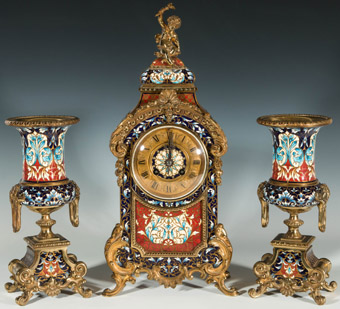 French Champleve Clock Set for Saulding & Co.