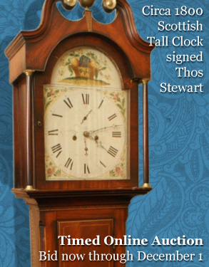 Time Online Auction, November 17 - CIRCA 1800 SCOTTISH TALL CLOCK SIGNED THOS STEWART