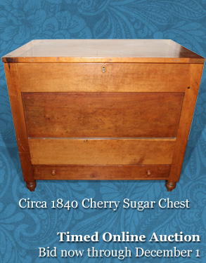 Time Online Auction, November 17 - CIRCA 1840 CHERRY SUGAR CHEST