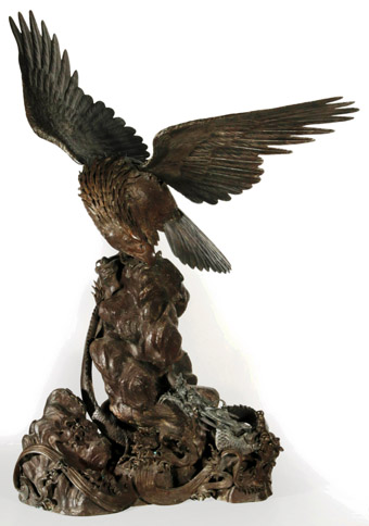A Monumental 19th C. Asian<br>Bronze Eagle and Dragon