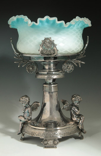 Blue Mother of Pearl<br>Bride's Bowl on Cupid Stand