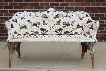 One of Four Antique Iron Benches