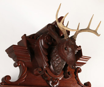 Walnut Sideboard with Black Forest Carved Deer