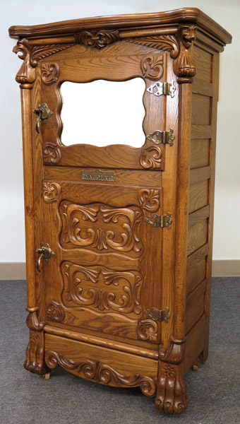 Exceptional Beldings Oak Ice Box with Mirror and Lions