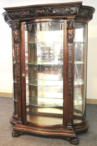 Flint & Horner Oak China Cabinet with Carved Figures