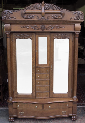 Karges Oak Armoire with Lingerie Drawers