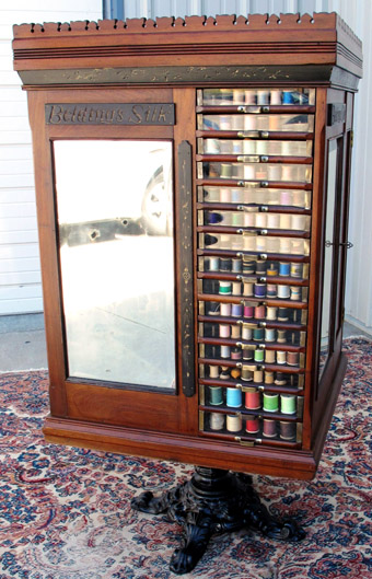 Large Beldings Walnut Silk Spool Cabinet on Stand