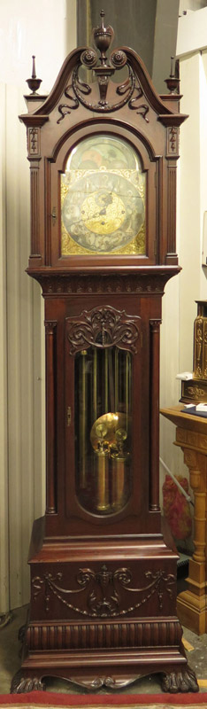 Massive Mahogany Hall Clock attributed Walter Durfee