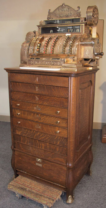 National Cash Register Model #532 on Oak Bombay Base