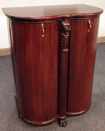 Rare Salter Double Bow Front Mahogany Record Cabinet with Lion