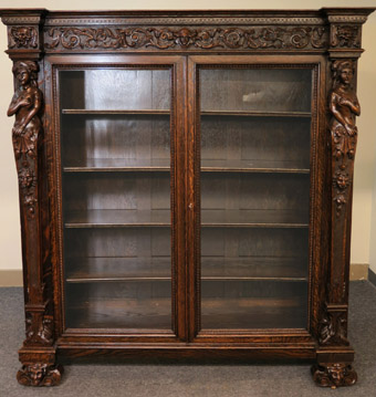 RJ Horner Figural Oak Double Door Bookcase