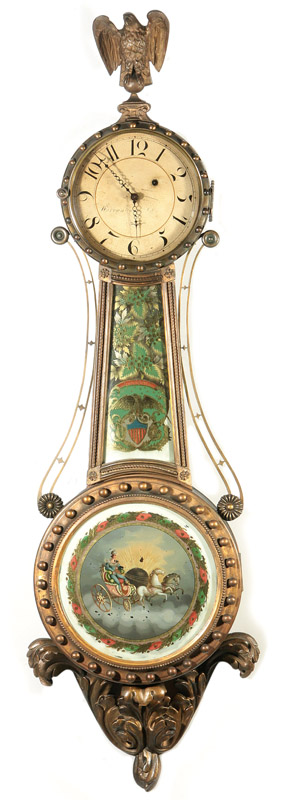 Lemuel Curtis Girandole 'Number Five' - An extremely rare original signed version of the classic girandole banjo clock patented by Curtis in 1816.