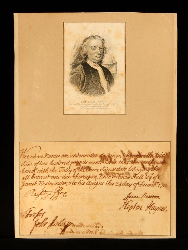 Isaac Newton Signed DocumentDecember, 1718