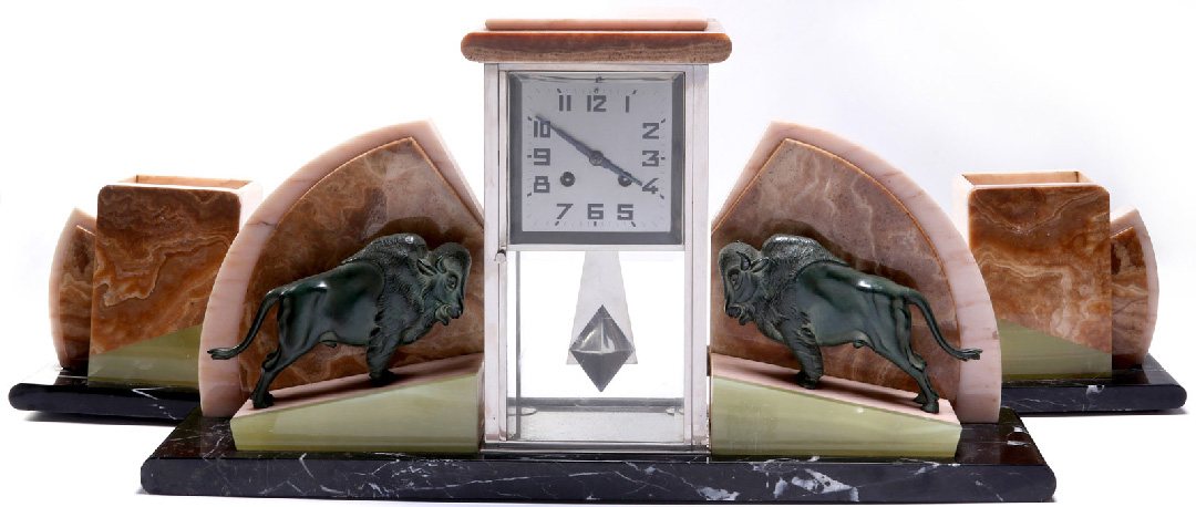 Art Deco Clock Set with Buffalo