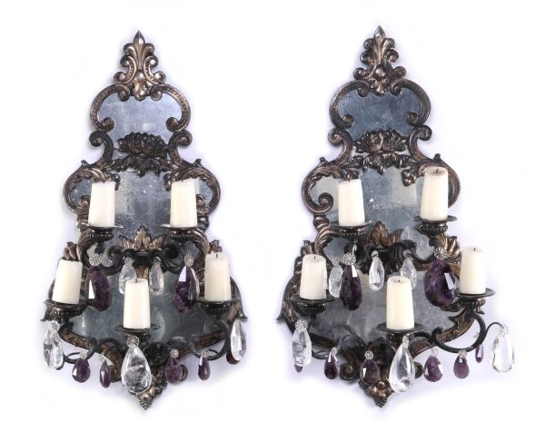 An Exceptional Pair of Large Mirrored Girandoles Dressed with Rock Crystal Prisms
