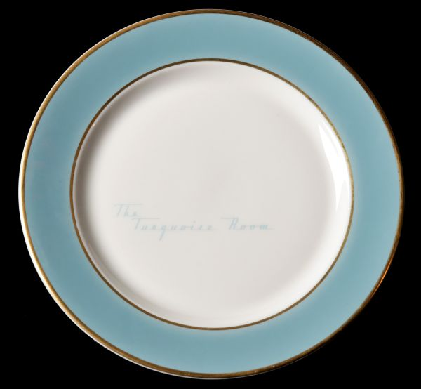 Rare AT&SF Santa Fe Turquoise Room Plate