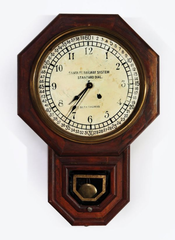 Santa Fe Railway System Octagon Drop Wall Clock with Original Standard Dial