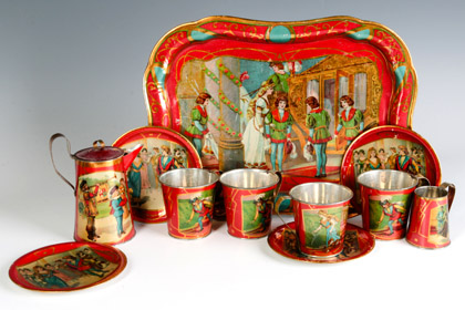 Many Tin Litho Doll Tea Sets