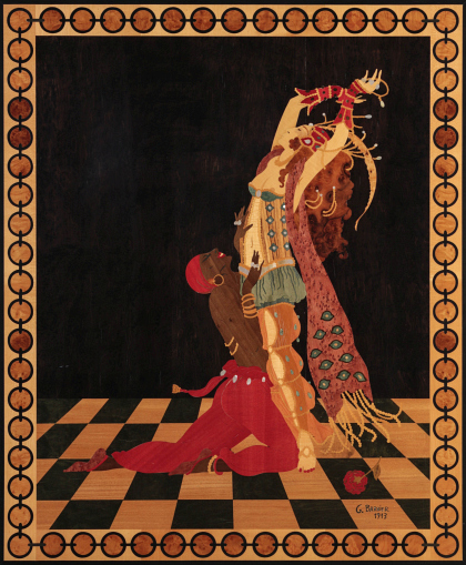 An Exotic Inlaid Panel after George Barbier
