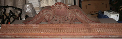 Impressive Antique Cast Iron Pediment, 60 Inches Long