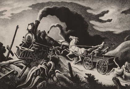 Thomas Hart Benton (1889‑1975), Pencil‑Signed Lithograph, Wreck of the Ol' 97