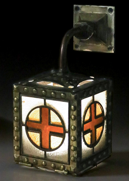 A Rare Santa Fe Railroad Leaded Glass Parlor Car Fixture, Circa 1915