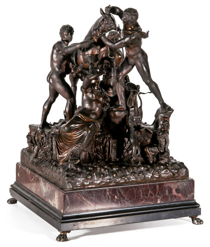 A Grand Tour Bronze Casting of the Farnese Bull on Tiered Marble Base