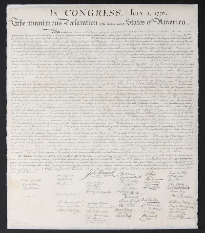 A Very Rare Circa 1840 Anastatic Facsimile of the Declaration of Independence