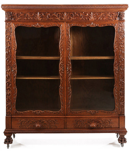 American Oak Bookcase with Lions