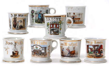 A Sampling of Stockmen Related Occupational Shaving Mugs